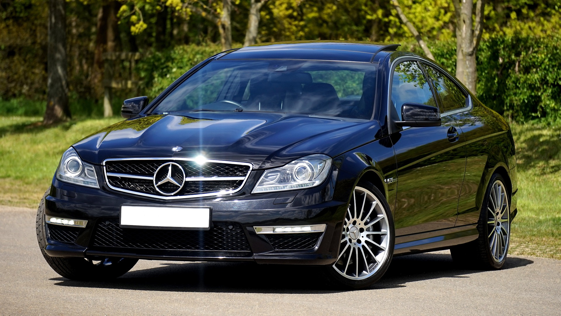 Black mercedes car