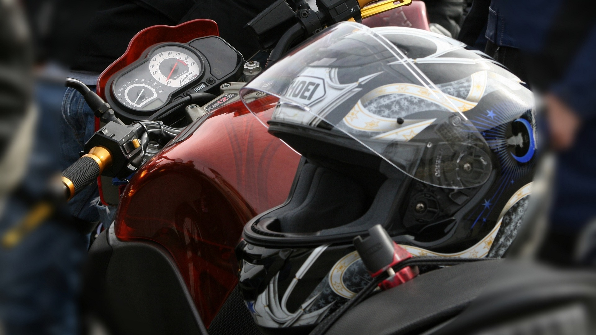 helmet in a motorcycle